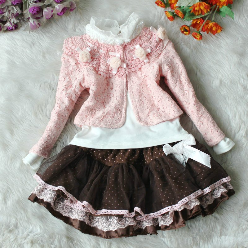 e8fcaa35242f Girls New years coat baby Lace flower dresses party Dot Lace skirts kids winter  clothing sets fashion overcoat,wholesale