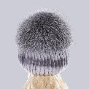 Image 4 - Yeni Varış Kış Kadın Örme Gerçek Rex tavşan kürk şapka Iyi Elastik Doğal Kabarık Gümüş Tilki Kürk Kapaklar Bayanlar Hakiki Kürk Şapkalar