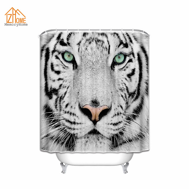 Memory Home White Tiger Printing Shower Curtain Custom Waterproof Polyester Fabric Bathroom Animal 60x72inch