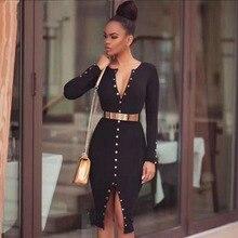 New Fashion Women Bandage Dress Long Sleeves Midi Bodycon