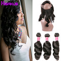 360 Lace Frontal with Bundles Peruvian Loose Wave with Frontal Wet and Wavy 360 Lace Virgin Hair 3 Bundles with Frontal Closure