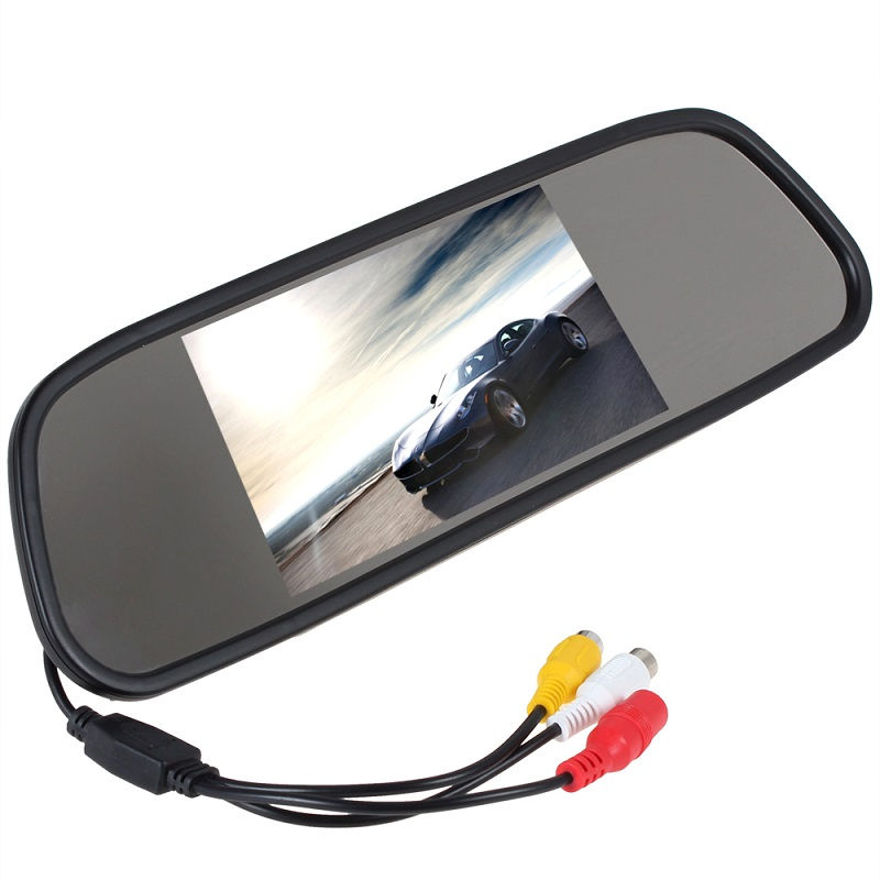 Car 5 TFT LCD Color mirror Monitor Auto Reverse Rear View Mirror Backup Camera DVD video