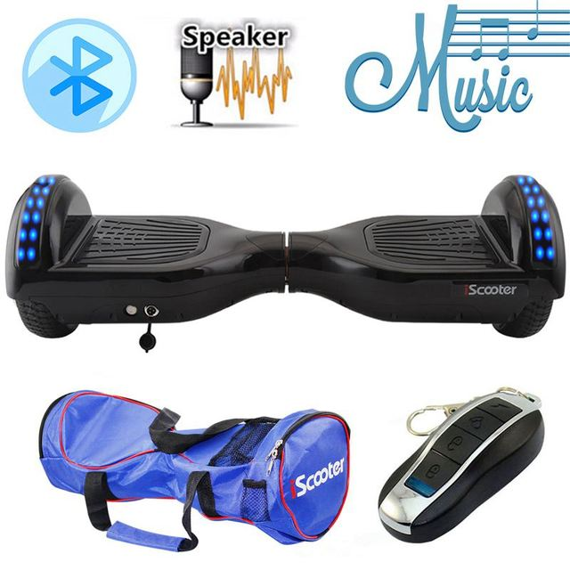 """iScooter Electric Skateboard Hoverboard Self Balancing Scooter two 6.5 inch Wheel with Led Bluetooth Speaker 6.5""""  hover board"""