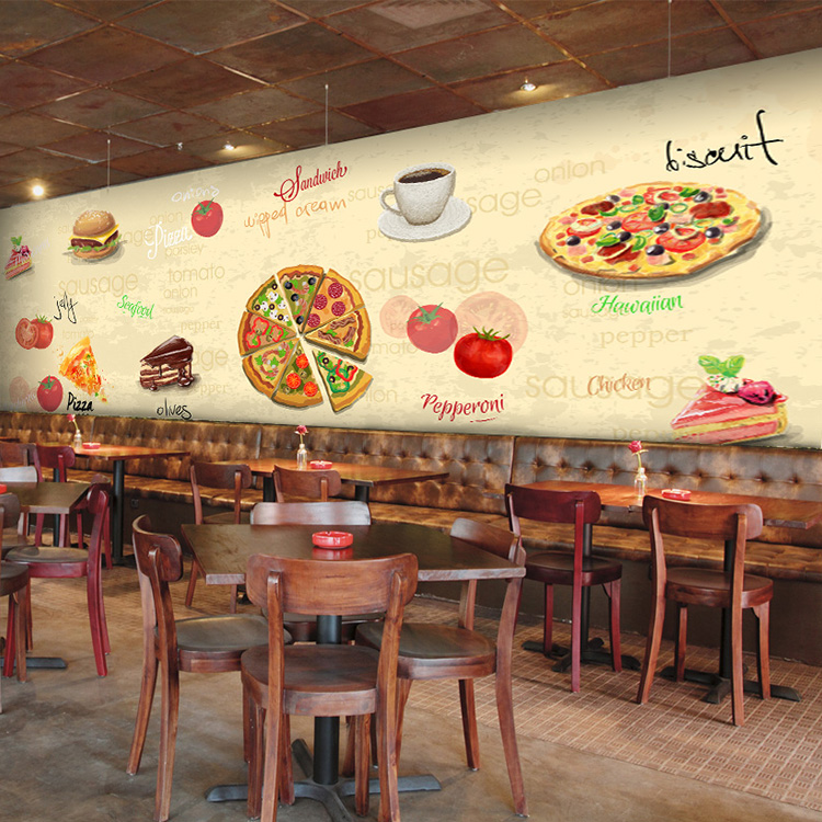 Custom 3d mural western style pizza wallpaper pizza cake for Cafe mural wallpaper