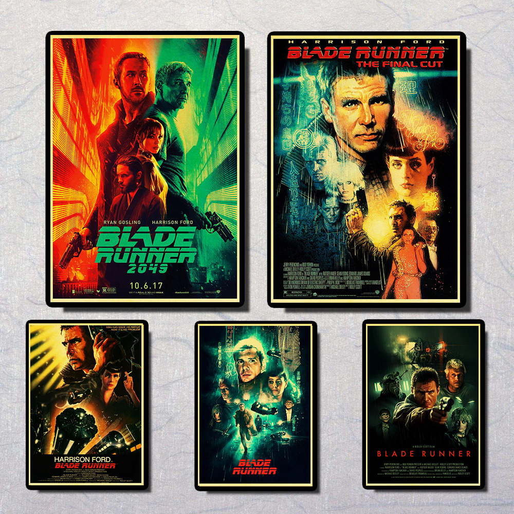 Movie Blade Runner 2049 Retro Poster Print High Quality Wall Sticker Living Room Home Decor Kraft Paper Bar Wall Sticker