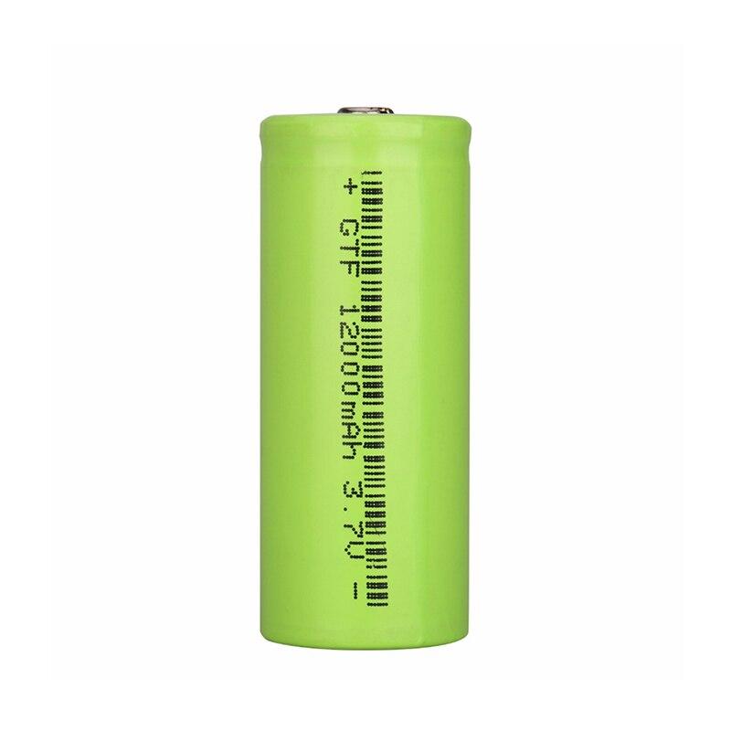 GTF 100% Original 3.7v 12000mah 26650 Battery Li-ion Rechargeable Battery Flashlight LED Battery Powerbank Cr123a Celular