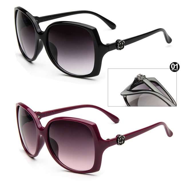 3e173b07976d2 New Luxury Brand Women Oversized Big Frame Black Rose Flower Logo  Sunglasses UV400 Protection Sun Glasses Oculos De Sol Feminino