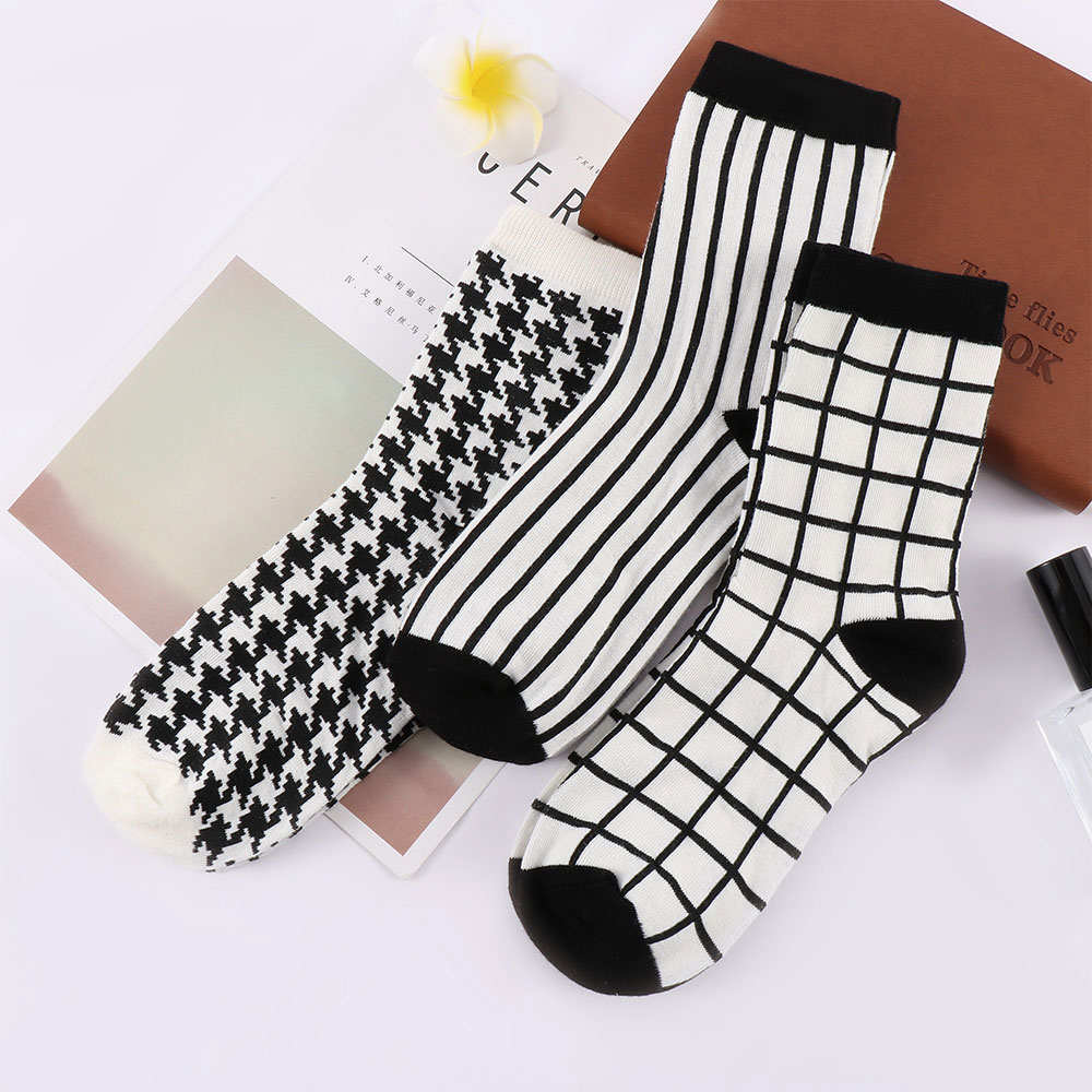 Fashion Style Cotton Socks Women Men Stripe Houndstooth Grid Printed Socks Casual Spring Autumn Breathable Socks