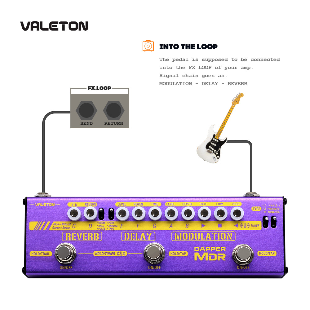 Image 4 - Valeton multi efeitos guitarra pedal dapper mdr de atraso reverb  chorus phaser vibrato tremolo flanger analógico digital fita  atrasoPeças e acessórios p/ guitarra