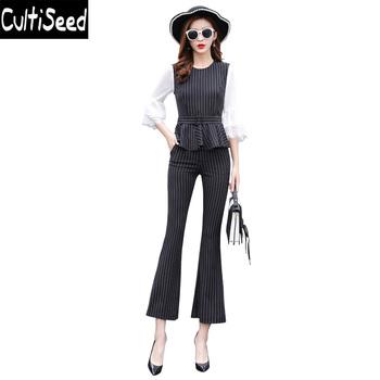 Pani urząd pracy Slim paski zestawy ubrania kobiet paski Ruffles kamizelka topy + długie rozszerzane spodnie 2 sztuk zestawy garnitury ubrania