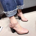 2017 Women's Thick High Heel Pumps 9.5cm PU Imported Ankle Strap High Heels Square Toe Open Shank