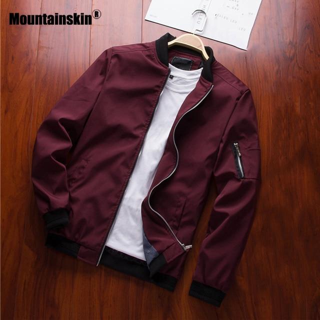 Mountainskin 2019 Mens Jackets Spring Autumn Casual Coats Bomber Jacket Slim Fashion Male Outwear Mens Brand Clothing 6XL SA585