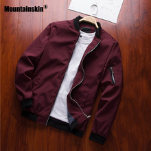 Mountainskin jaquetas masculinas, primavera, outono, casuais, casacos bomber, finos, uso externo, 6xl sa585