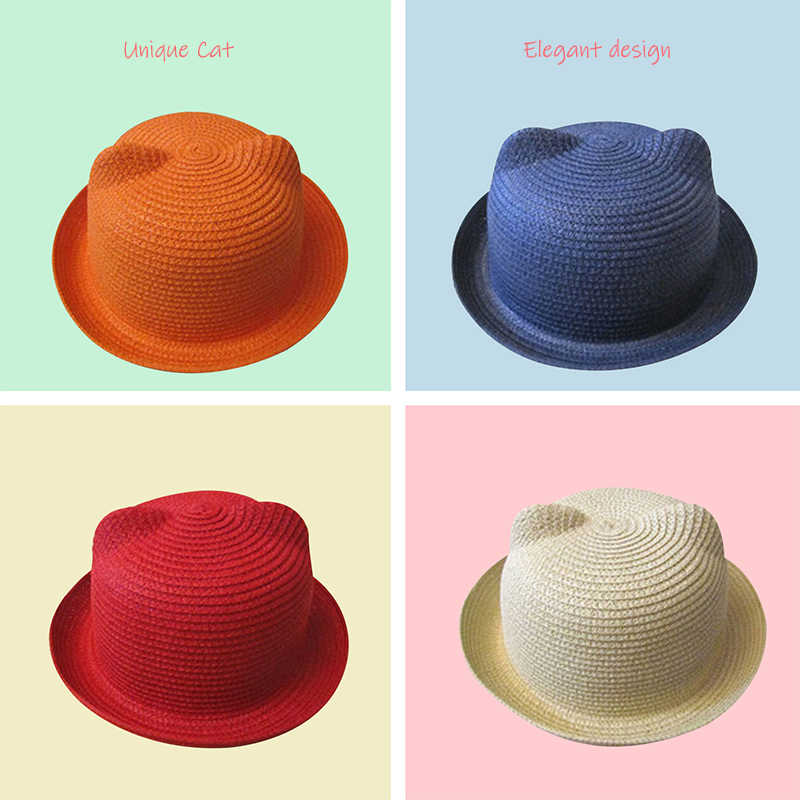 Spring Summer baby Cat Ears Hat Boy Girl caps Kids Sun Caps Solid Breathable Straw Hat Beach Lovely Girl sunhat Toddler Infants