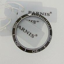 Insert de lunette en céramique noire, montre Parnis PA6032, 40.2mm