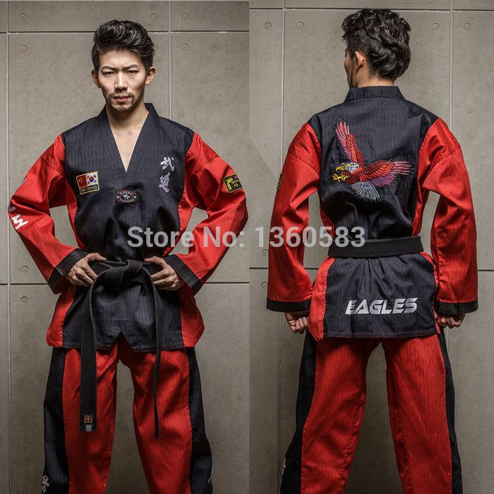 High-end Taekwondo uniforms cotten bamboo fiber men women Taekwondo dobok adult WTF TKD clothes embroidery Red Eagle