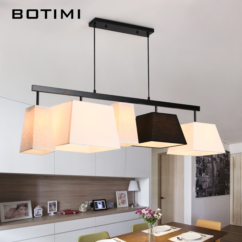 цены BOTIMI American Country Style Cloth Pendant Lights Lampadario With Fabric Lampshade Long Hanging Lamp Bar For Dining Living Room