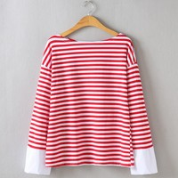 KYMAKUTU Loose Striped Tops Female All Match Autumn Winter T Shirts O Neck Long Sleeve Patchwork