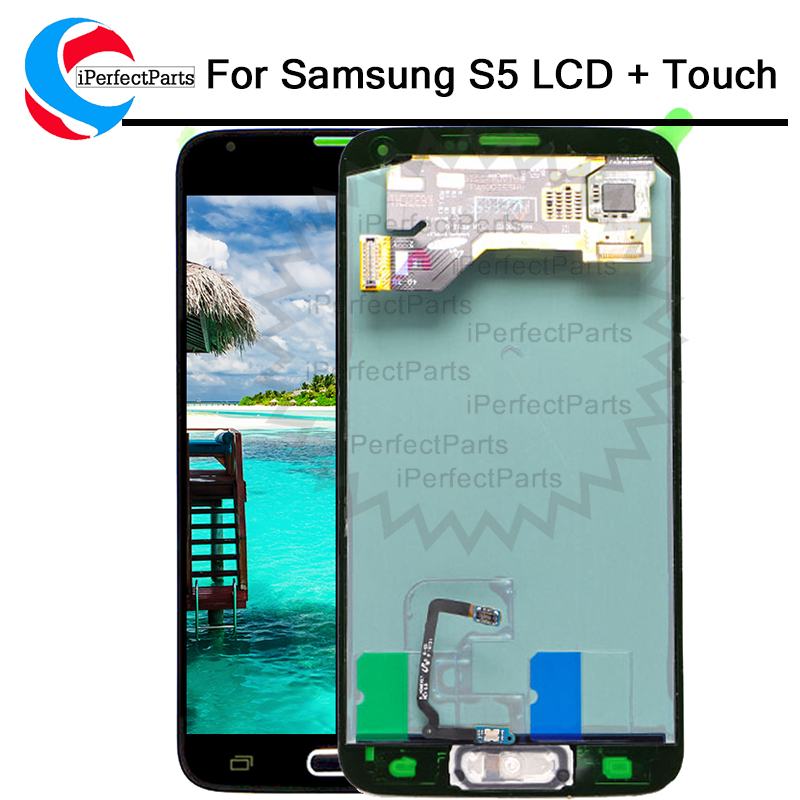AMOLED For SAMSUNG S5 LCD for Samsung galaxy S5 G900F G900H G900W8 LCD Screen Touch Digitizer Assembly with home button flex