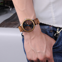 Relojes de madera para hombre combinación metal con caja 4