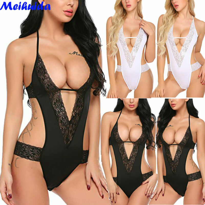 Hot Sale Women's Sexy Lingerie Babydoll Hollow Out Sleepwear Underwear Lace BLACK WHITE Dress Set Best Sexy Clothing