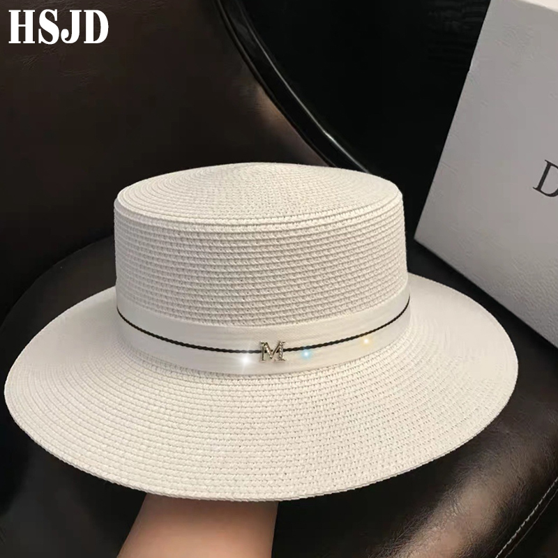 2019 M Letter Flat Top Straw Hat Ribbon Boater Beach Hat Women's Summer  Wide Brim Fedora M Panama Straw Travel Sun Cap Gorras