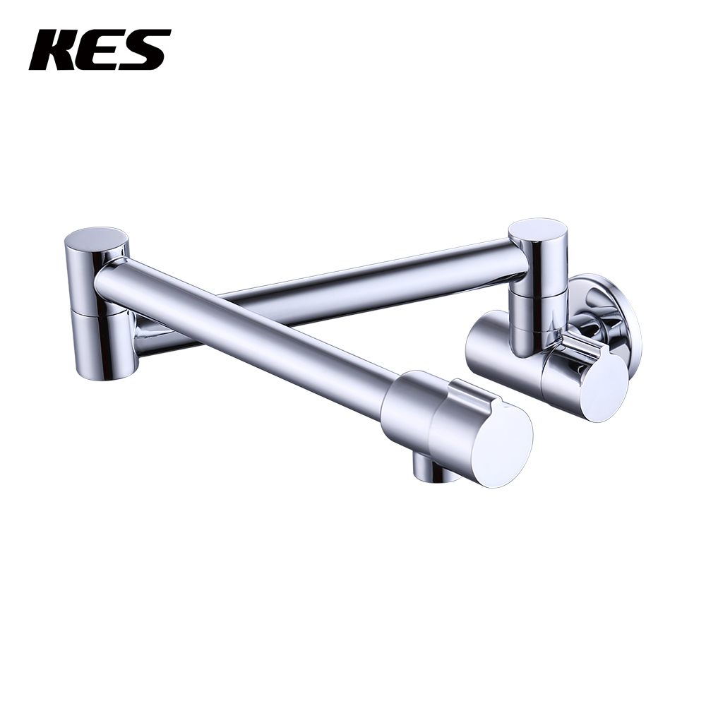 KES 2-Handle Pot Filler Faucet Wall Mount LEAD-FREE BRASS Articulating Folding Kitchen Faucet 2.2 GPM 1/2 NPT Chrome, KUS923LF free shipping matte black wall mounted pot filler folding 2 handles single cold water kitchen faucet tap sf915