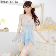 new Lace transparent Cicada Net yarn Camisole Pajamas Buttocks Dew sexy lingerie babydoll underwear lenceria erotic porno