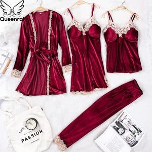 Image 3 - Queenral 4PCS חורף פיג מה סטים לנשים הלבשת הלבשה תחתונה פיג זהב קטיפה חם פיג מות סקסי תחרה חלוק פיג מה Nightwear