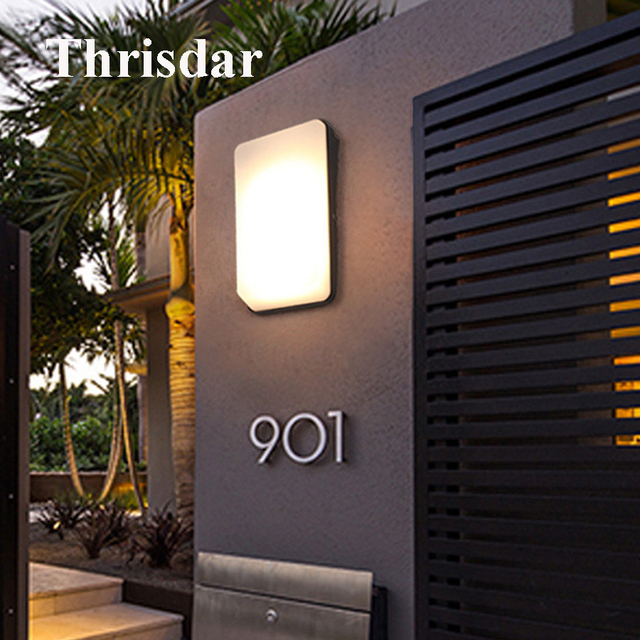 Thrisdar 20w Outdoor Led Porch Wall Lamps Waterproof Aluminum Nordic Light Square Garden Balcony Patio
