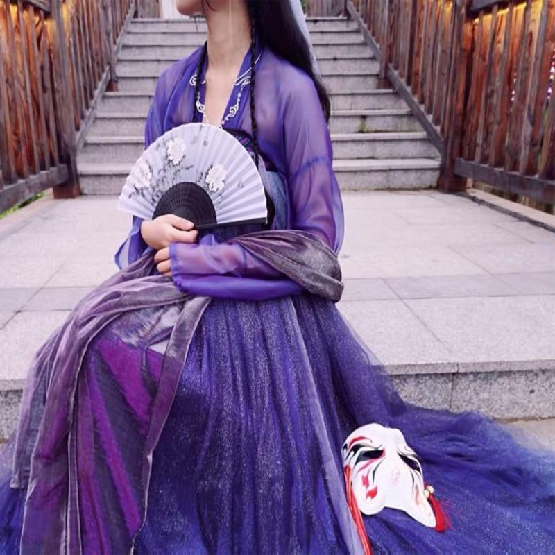 Female Hanfu Chinese Dress Traditional Chinese Clothing Purple Star Hanfu Dress Women Hanfu Costumes Princess Dresses DQS1423