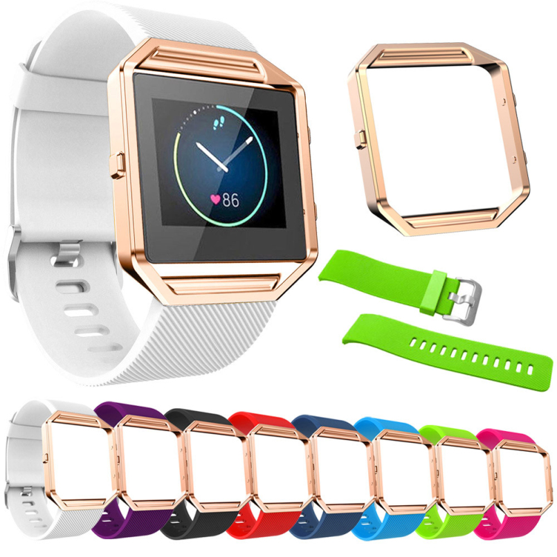 Excellent Quality 2016 Large Size Various Colors Soft Silicone Watch Band Wrist Strap Metal FrameFor Fitbit