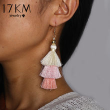 17KM Bohemian Multilayer Tassel Earrings Hook For Women Colorful Oversize Statement Earring Dangle Fashion Jewelry 2018 New(China)