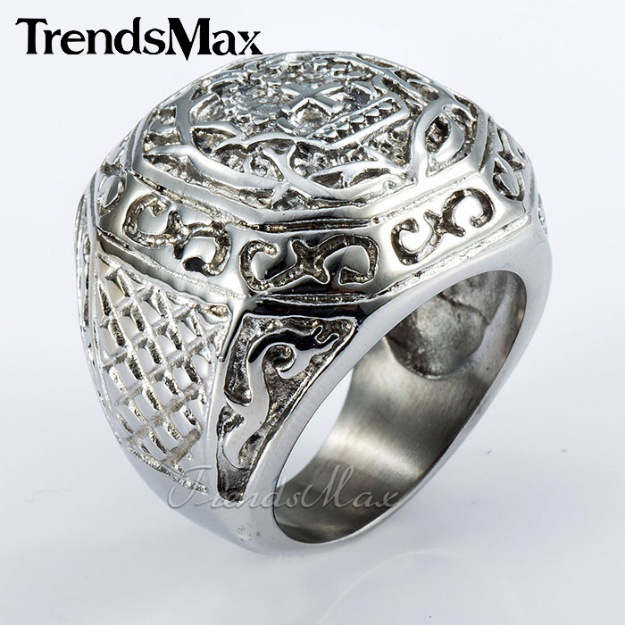Trendsmax Customized Rock Silver Tone Carved Cross Crown Mens Boys