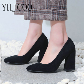 YHJCOO Women Shallow Pump Basic Shoes Sexy Fashion Cozy Hoof Heels Pumps Pointy Toe 2018 Party Shoes Wedding Bride Shoes Size 43 basic pump