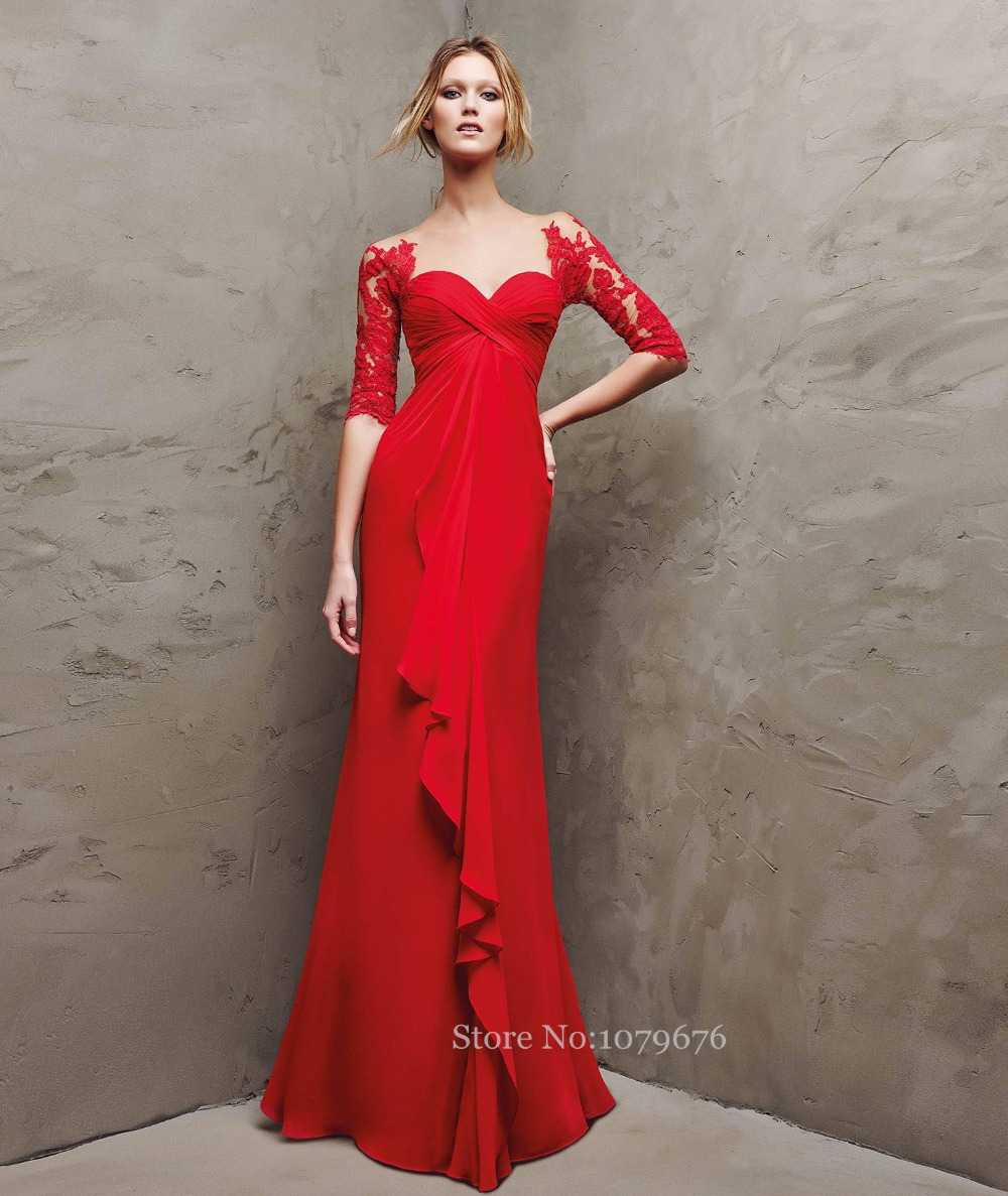 641a4d389e Plus Size Empire Women Evening Dress Designer 2015 Red Sheer Long Sleeve  Prom Gowns Lace Vestidos Dresses For Wedding Events-in Evening Dresses from  ...