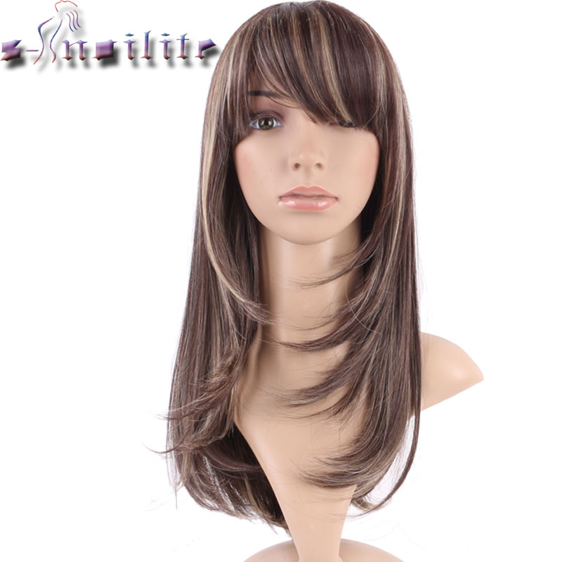 S-noilite Hair Straight Brown Synthetic Wig With Bangs For Black Women Fake Hair Heat Resistant Wigs For African American