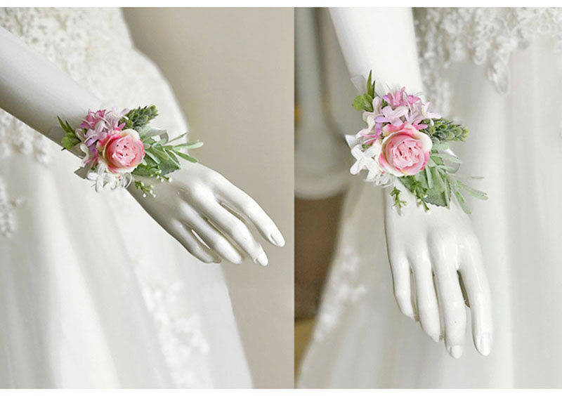 bridal wrist corsage Groom Groomsman boutonniere Brooches rose artificial wedding flower  (4)