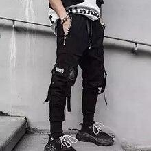 Горячие боковые карманы мужские зауженные брюки хип-хоп лоскутные брюки карго рваные спортивные брюки джоггеры брюки мужские модные длинные брюки