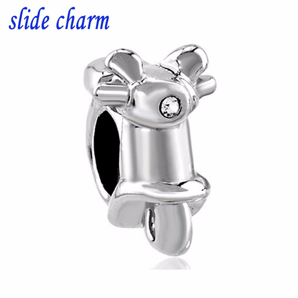 slide charm Free shipping women motorcycle style charm beads fit Pandora bracelet lover mothers Christmas gift
