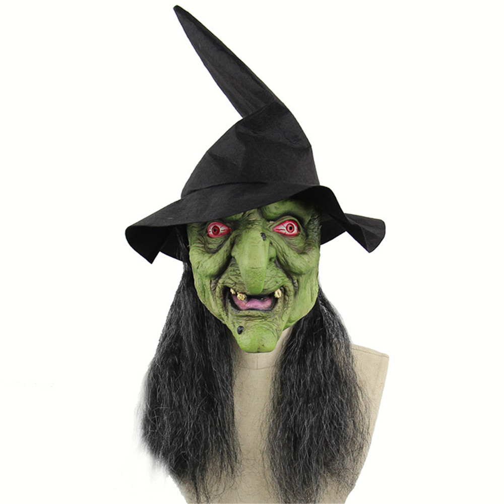 Cosplay halloween green head gray hair horror witch mask demon scary adult latex mask with hat Headgear witch