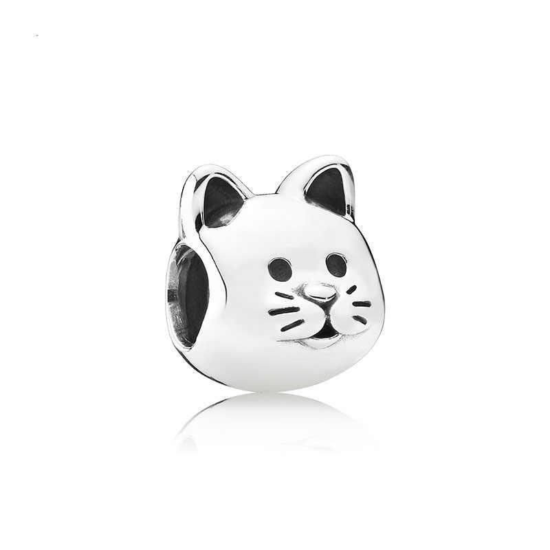 2019 nowy 1pc europejski śliczny czerwony zielony kot biały różowy dow paw diy koralik Fit Pandora Charms bransoletka oryginalny dla kobiet F131