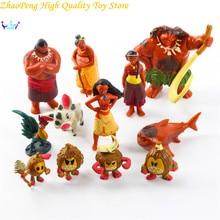 Hot 12Pcs/Set Moana Maui Heihei Tamatoa Chief Tui Sina Tala Gift Doll Plastic Anime Action Figures Toy Gift OPP Bag FB176