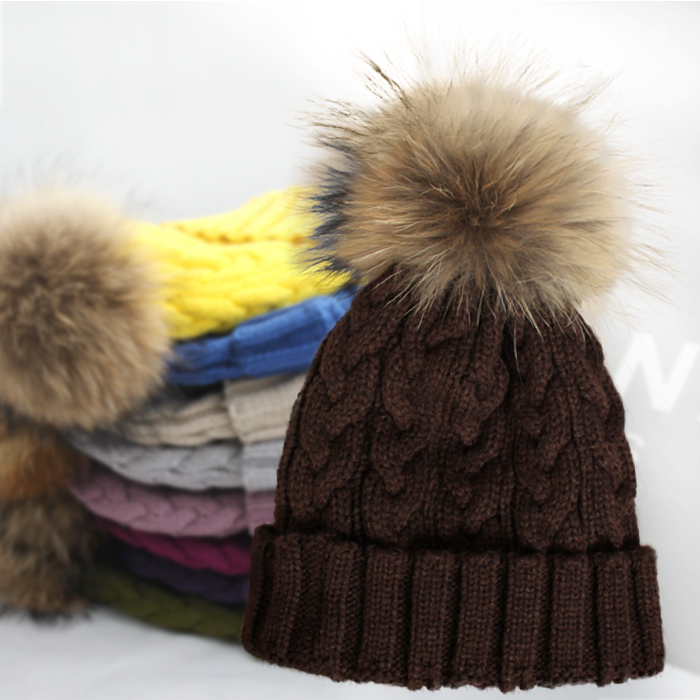 256b30db602 Cable Knitting Women Hat With Raccoon Fur Pom Poms Warm Winter Colorful Hip  Hop Men Cap-in Skullies   Beanies from Apparel Accessories on  Aliexpress.com ...