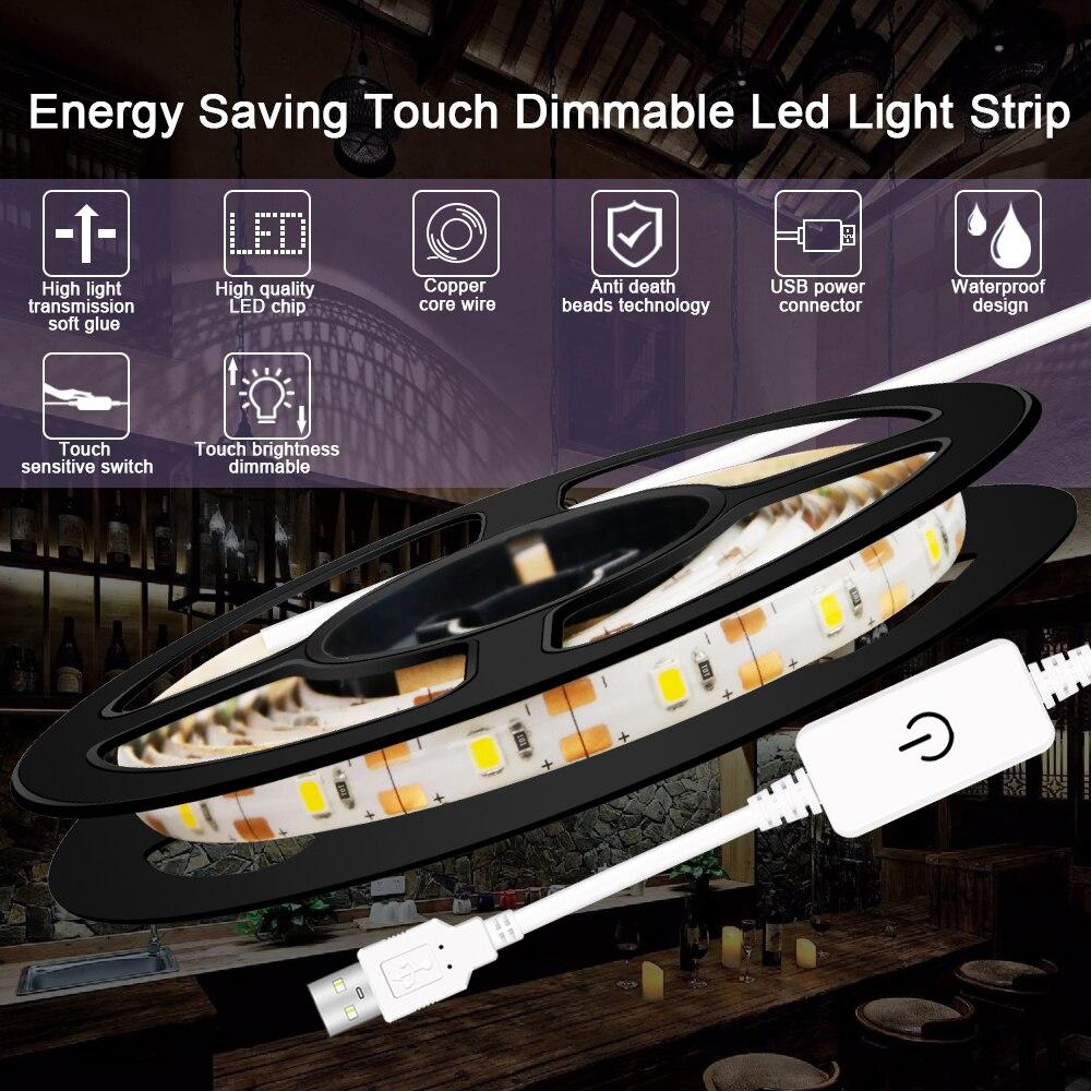 USB Tira CONDUZIDA Dimmable Armário de Cozinha 5V Luz CONDUZIDA Da Fita Impermeável Fita Fita de Luz LED Iluminação Wardrobe Closet Flexível lâmpada