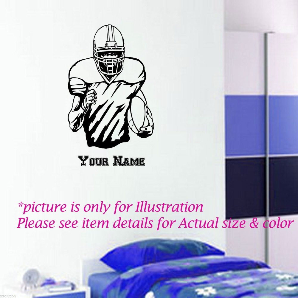 online buy wholesale football wall art from china football wall rugby player vinyl wall stickers american football wall art personalised name wall decal for kids room