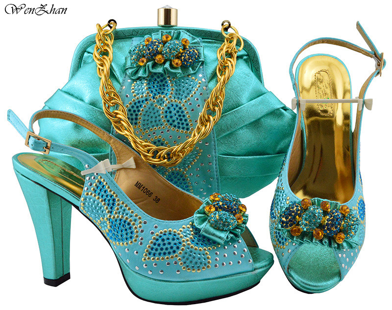 Sky Blue High Pumps African Shoes and Bag Buckle Strap Matching Set With Stones Women Italian Shoes and Bag Set WENZHAN B86-12 african lady shoes and bag matching set for high quality for sky blue size 38 42 beautiful plum italian shoes and bag wow36