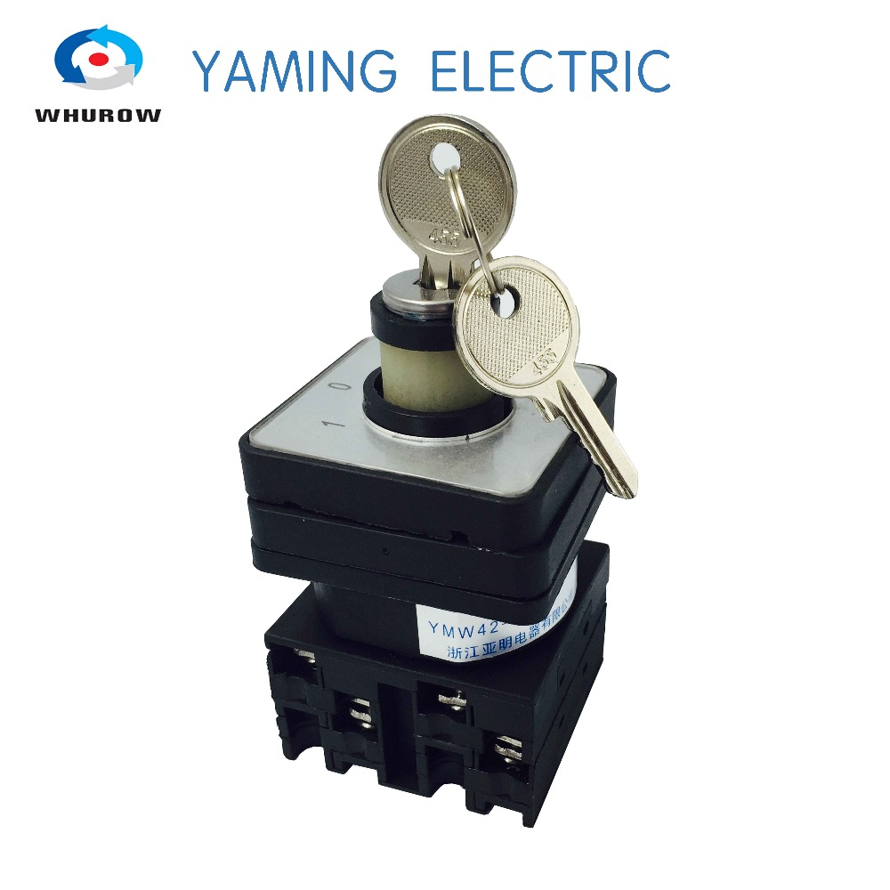 Free shipping 1pcs Rotary switch 3 position 660V 20A 2 phases electrical changeover cam switch with key lock YMW42-20/2S load circuit breaker switch ac ui 660v ith 100a on off 3 poles 3 phases 3no 2 position universal rotary cam changeover switch