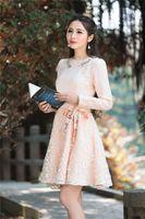 2017 nieuwe lente vrouwen dress boog breien volledige mouw 6932 geur sunshine borduurwerk jurken orange roze 3723
