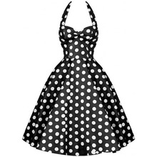 Summer Style Lady Retro Audrey Hepburn Vestidos Women Vintage 50s Dress Big Swing Polka Dot Backless Rockabilly Plus Size